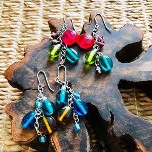 Two Sets of Earrings with Glass Beads